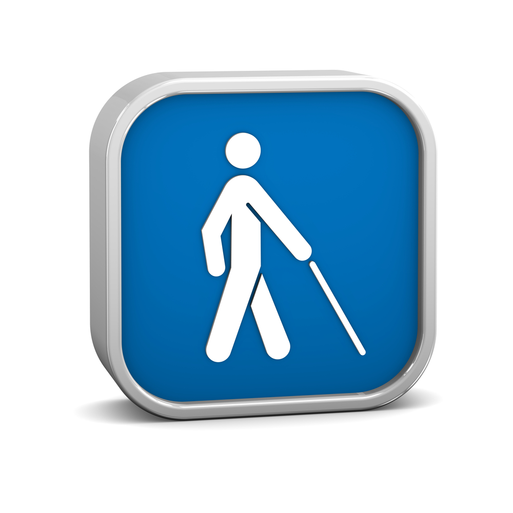 Icon of blind person walking with cane